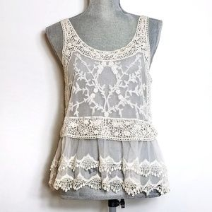 Express Crochet Lace Sheer Festival Top